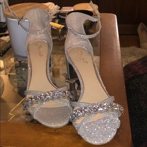 Silver sparkle, low chunky heel, size 10
